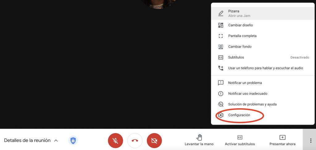 captura de pantalla habilitar acceso rápido en el menú Configuración de GMeet